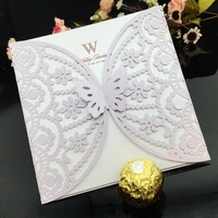 2015 new design Elegant lavender Hollow Flower Butterfly Laser Cut wedding invatation Card With Envelope For Wedding Decoration