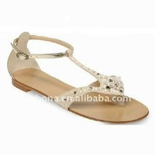 Ankle strap nails ladies flat sandals nice sample shoe