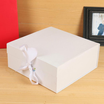 cube customized matte ribbon gift white rigid boxes