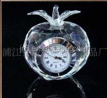 fashion crystal gift , crystal table clock & Apple shaped crystal clock