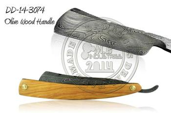 Damascus Steel Straight Razor Olive Wood