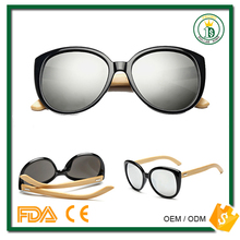 China factory price NO MOQ Cat Eye fashion oversize frame sunglass wood sunglass with silver mirror lens
