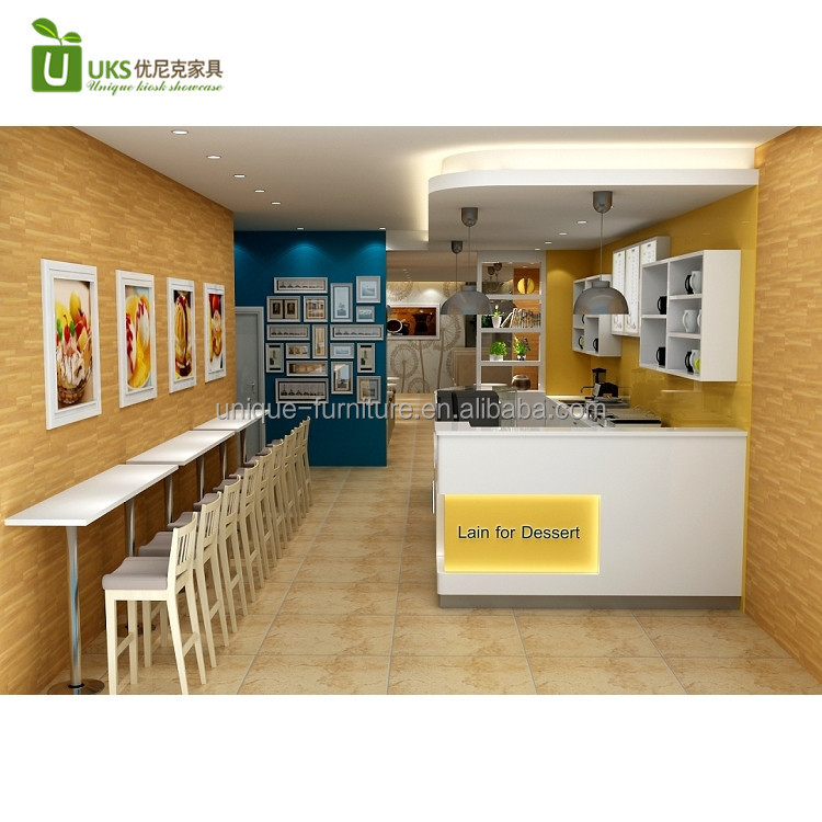 2017 most popular retail fast food coffee shop interior design with coffee counter for sale