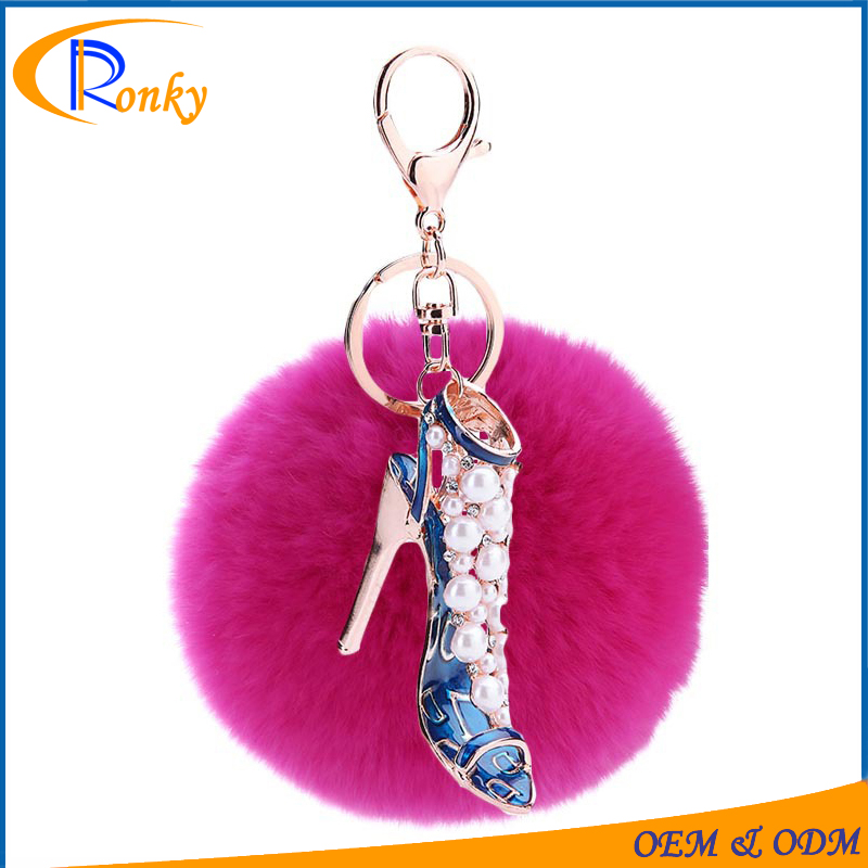 2016 rhinestone high heel shoe keychain for women pearl jewelry factory direct sale