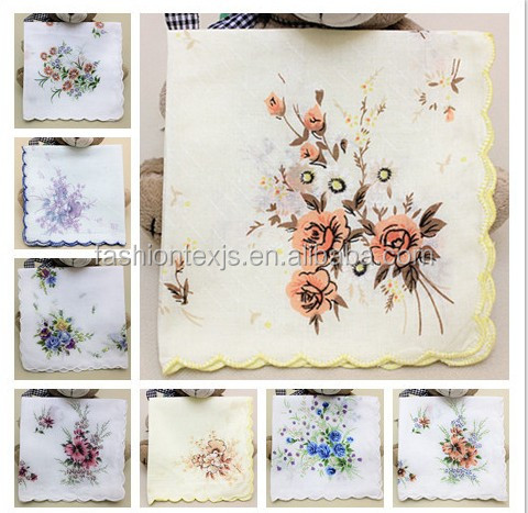 High quality 100% cotton lady woven hand design embroidery handkerchief