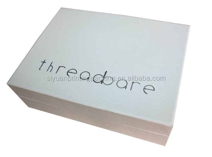 Custom high quality white textured linen paper gift box