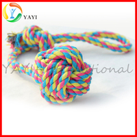 Biting Training Knotted Cotton Rope Pet Puppy Toy with Balls