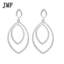 Newest European Style New Design Geometric Figure Long Hanging Earrings in Oval circle rhodium plated fashion earring