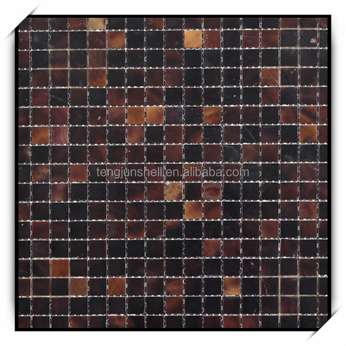 Dark Brown Pen Shell Mosaic Wall Tile with Brick Pattern