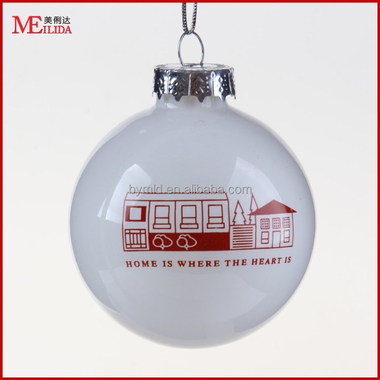 Wholesale printed hanging christmas glass ball ornaments bulk for decoration