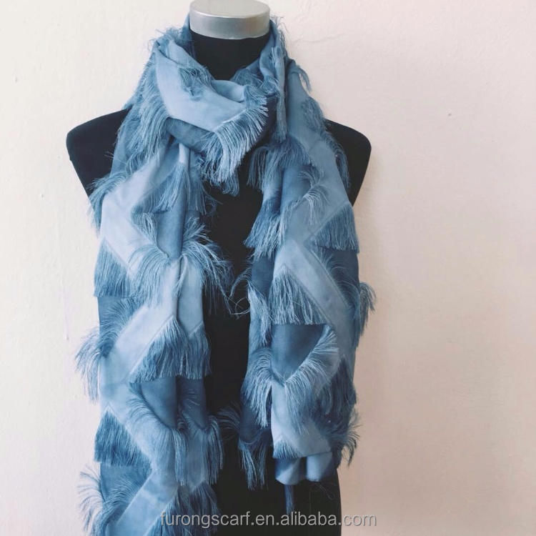 women chiffon scarf silk satin feather scarf