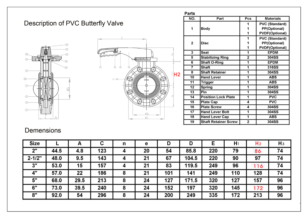 High quality manual pvc butterfly valve