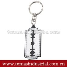 Customized razor blade leather keychain promotion craft