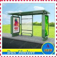 galvanized steel bus stop shelter with bench and double-faced light box