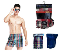 2016 new fashion 100% cotton men's woven boxer shorts
