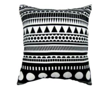 Single Black Tone and Flocked Cushion Cover