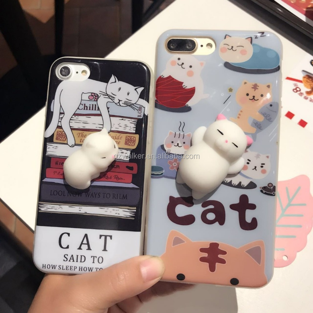 hot selling custom 3d lenticular silicone anime cartoon cat cell phone case for iphone 7