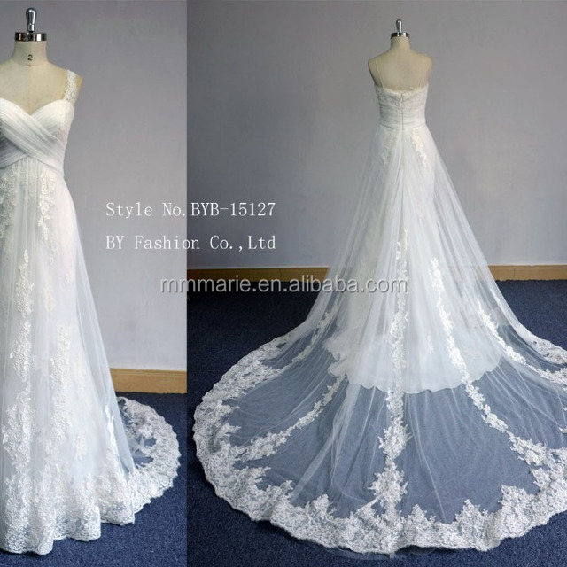 2016 sexy luxury wedding dress new design women's evening dress empire waist train lace wedding dress 2016 new design