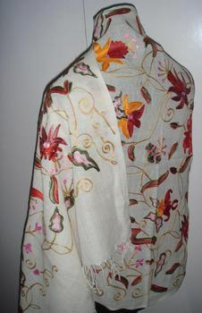 Woolen Shawls With Allover Floral Ari Embroidery