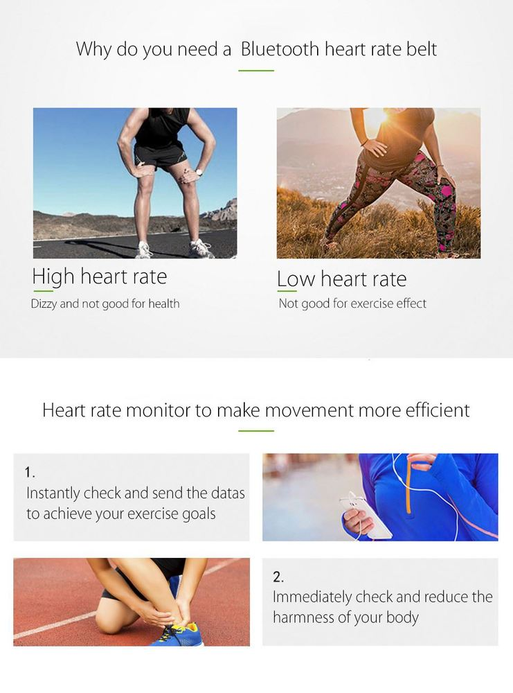 Free Shipping Bluetooth 4.0 Heart Rate Smart Sensor Chest Strap for Outdoor Fitness Sports