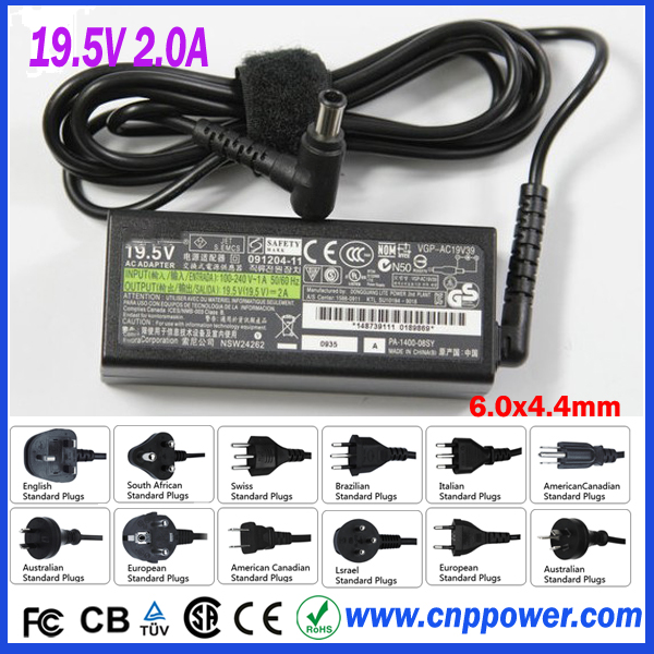 AC Adapter Charger for Sony VAIO mini Laptop 2A 39W 19.5V Laptop Power Supply