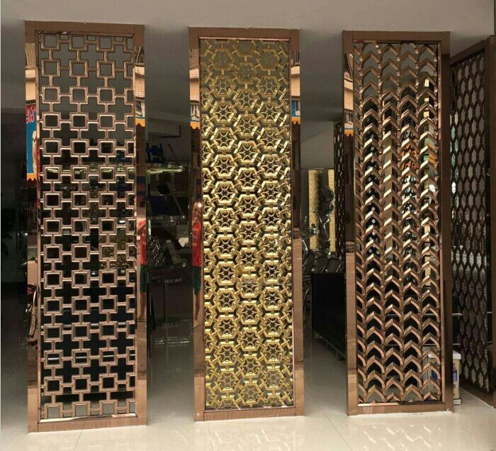 Decorative Metal Screen 304 Stainless Steel Panel With Bronze Hairline Plating For Interior Project