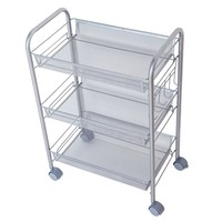 MM_414D 3 Tier Metal kitchen tea utility storage cart rack