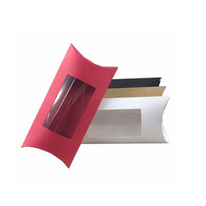 Kraft Paper Pillow Box With PVC Clear Window Box For Jewelry Packaging