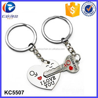 2015 New Couple I LOVE YOU Keyring , Metal Heart Couple Keychain , Lover Romantic Creative Key Chain