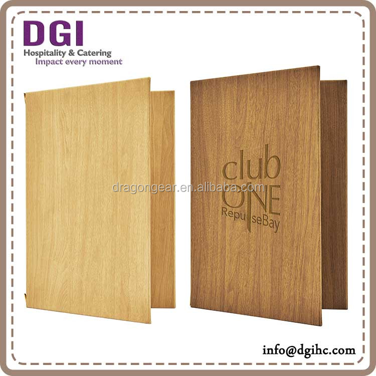 custom-made restaurant wood menu cover