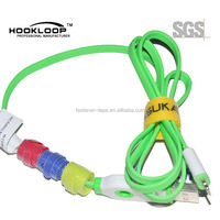 Colored self adhesive hook and loop cable tie for wire