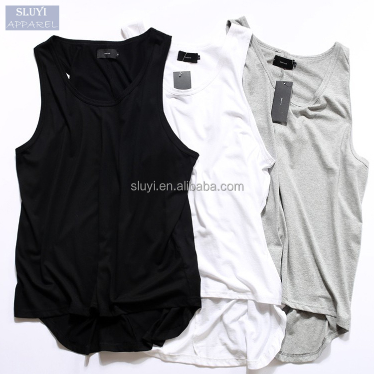 tank top men Fashion hip hop tops summer blank black gray white colors loose vest men casual low cut design tank tops in bulk