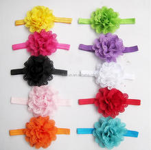 Girls Headband Chiffon Flower Baby hair accessories stretchy Baby Girl Toddler Hairband for large headbands