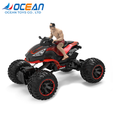 Children funny car 1:14 scale 2.4ghz 4CH RC four wheel drive motorcycle with driver