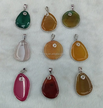 Cheap Wholesale Natural Agate Slice Pendant For Colorful Gemstone Necklace