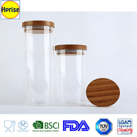 Home and garden type wooden lid Pyrex glass jar storage