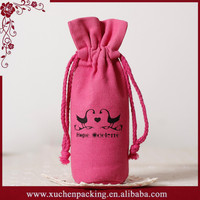 Animal Pattern Printed Red Single Bottle Canvas Wine Bag With Drawstring Closure