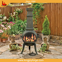 outdoor chimney firepit/cast iron chiminea with bbq grill