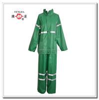 waterproof green 170t polyester pongee reflective rain coat and pant