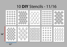 10 Wall Stencils in 1 box - size 11/16 Inches