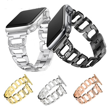 Bling Bands for Apple Watch Band 38mm 42mm Stainless Steel Metal Replacement Wristband Sport Strap for Apple Watch Nike+, Series