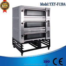 YXY-F120A Commercial Gas Bakery Convection Deck Oven 3 decks 12 tray deck oven