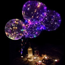 Wholesale children girlfriend gift bobo balloons RGB/ 5 colors 3AA battery fair micro LED silver copper wire party string lights