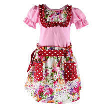 Summer latest design wholesale children clothing boutique national floral printing ruffle O-neck girls exquisite dresses