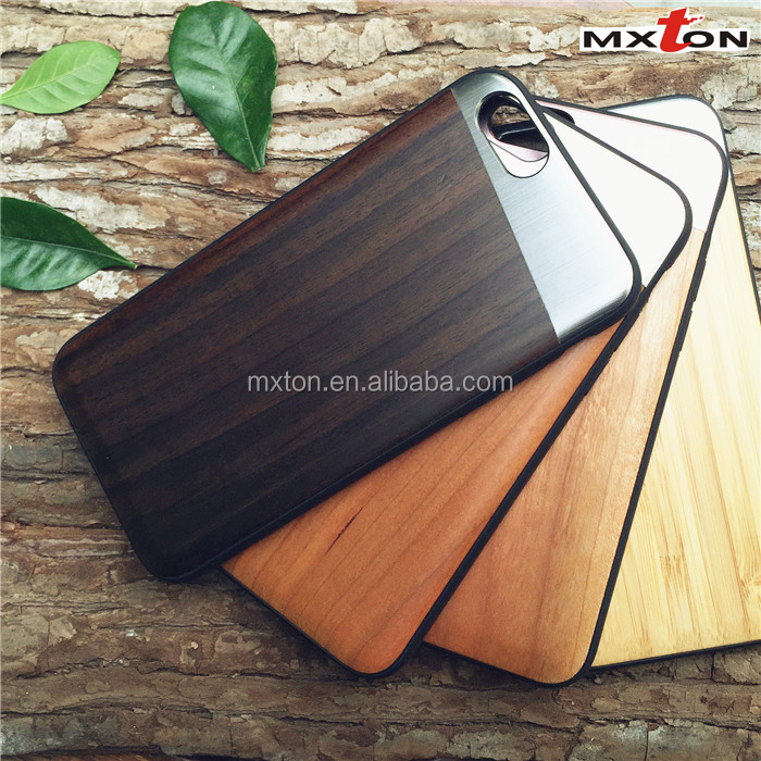 Best Selling Natural Wooden Phone Case Guangzhou Wholesale Cell Phone Case High End Wood+Metal Case for iPhone 6/6 Plus