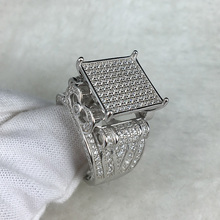 High quality large block of ice zircon cz ring road 925 pure silver hip hop ring.