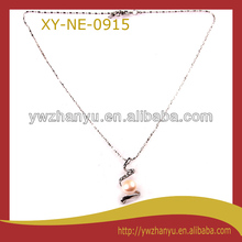 fashion pearl crystal inlaid pendant real chain necklace