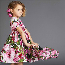 Hot Sale Kids Girl Net Pleated Vintage Red Flower Girl Dresses