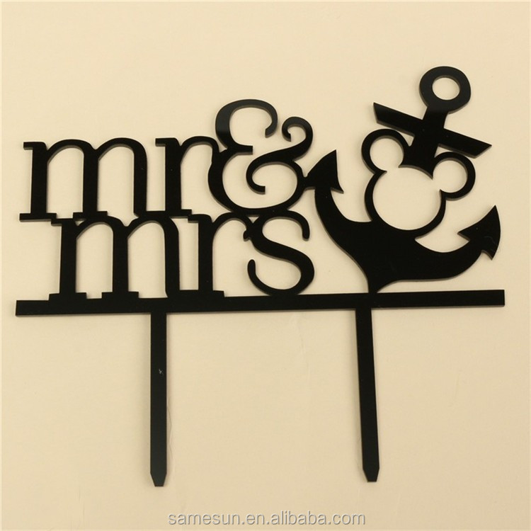 Wedding rings acrylic laser cut cake topper