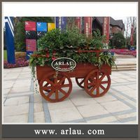 Arlau Chinese Antique Reproduction Furniture,Small Plant Containers,Wooden Barrow Planter